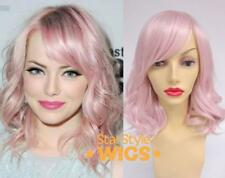 DELUXE PINK MID LENGTH WAVY PASTEL HEAT RESISTANT FASHION WIG
