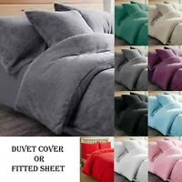 Fleece TEDDY BEAR Quilt Duvet Cover V Pillowcase 30cmDeep Fitted Bed Sheet Throw