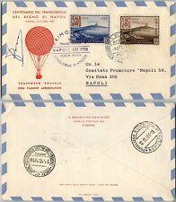 SAN MARINO-FDC-Centenario Napoli-Primo volo Pallone postale Napoli 9.10.1958