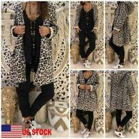 Women's Leopard Hooded Long Coat Cardigan Loose Outwear Kimono Jacket Sweatshirt