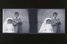 Enfants Photo amateur France Famille Plaque stéréo NÉGATIF 45x107mm ca 1910