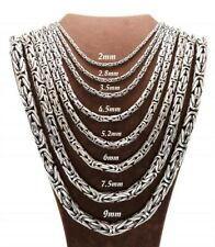 Solid 925 Sterling Silver Men's King Byzantine Round Chain Necklace! All Sizes