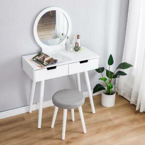 Set Dressing Table With Mirror & Stool Children Kids Wooden White Modern Bedroom