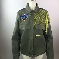 GUESS Flynn Cargo Jacket Army Green Fringe Zip Up Embellished Jacket Coat Large