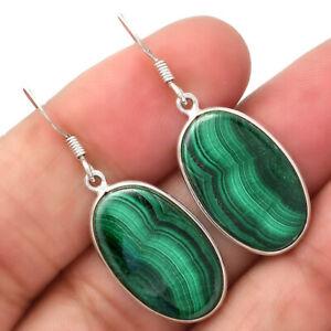 Natural Malachite Eye - Congo 925 Sterling Silver Earrings Jewelry 8774