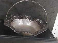 .800 SILVER FLORAL BASKET WITH HANDLE Hammered Bowl