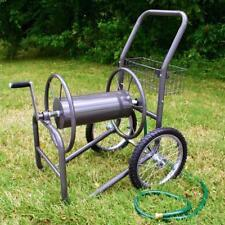 2 Wheel Garden Hose Reel Cart Industrial Pneumatic Tires Holds 300 ft of 5/8 in.