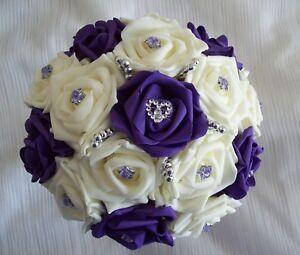 Wedding flowers Cadbury Purple & ivory rose bride wedding Bouquet Posy