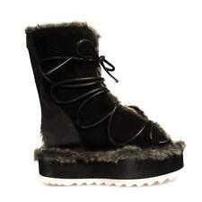 RRP€130 POPA Leather Winter Boots EU 38 UK 5 US 8 Faux Fur Trim Cut Out Platform