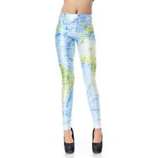 Women Leggings World Map Printed Legging Fitness Pant Casual Workout Clothing