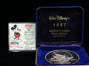 "RARE 5 OUNCE SILVER FIRST EDITION MICKEY'S MAGIC ""GOOD LUCK"" With Case & COA"