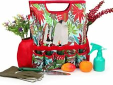 9-Piece Garden Tools Set with Gloves and Colorful Tote - Gardening Hand Tools