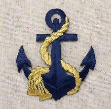 Anchor -Navy Blue/Gold Rope - Nautical - Iron on Applique/Embroidered Patch