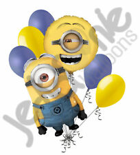 7 pc Despicable Me Stuart Minion Balloon Bouquet Party Decoration Happy Birthday
