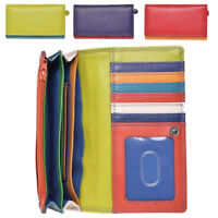 Ladies Super Soft Genuine Luxury Leather Envelope RFID Blocking Purse Wallet