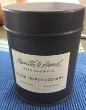 1 New Hearth & Hand with Magnolia Black Pepper Coconut Candle in tin BIG 14.4-oz