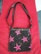 BLACK PINK STARS CROSS BODY SHOULDER PURSE BAG ADJUSTABLE STRAP