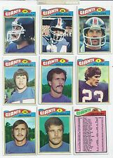 Lot of 9 Diff 1977 Topps NY NEW YORK GIANTS #1 Team Football Cards VG/EX NFL