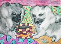 KEESHOND Drinking Coffee Art Print 8 x 10 Signed by Artist KSams Dog Collectible