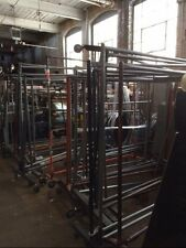 Rolling Straight Bar Racks Pipe Used Clothing Store Fixtures Stock Handling Rack