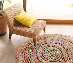 100x100cm, 120x120cm Jute Cotton Circle Rustic Cottage Braided circular rugs