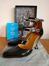 Fluevog Wanda Streets of Gold Collection Black Heels, size 8, NEW