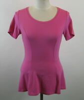 Isaac Mizrahi Short Sleeve Seamed Peplum Knit Top XXS Tropical Pink NEW A354253