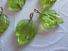 12 Olive Green Leaf Charms Beads Leaves with Brass Loops 15mm X 12mm