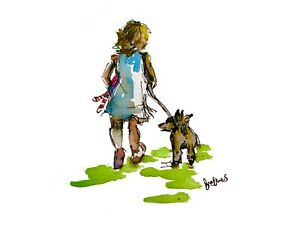 Print from original art ink & watercolour painting Little girl walking her dog