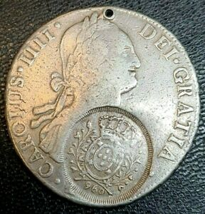 8 Reales Charles IV 960 Reis Silver Coin Bolivia Peru Counter Stamped Rare Spain