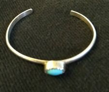 Mexican Silver Infant Baby Cuff Bracelet Turquoise Center