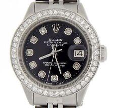Rolex Datejust Lady Stainless Steel Watch Jubilee Black Diamond Dial .70ct Bezel