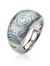 NEW EMPORIO ARMANI POLISHED STAINLESS STEEL+MOTHER OF PEARL RING SIZE-7+BOX
