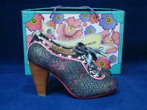 POETIC LICENCE UK 5 BACKLASH BLACK AND PINK PATTERNED LACE UP SHOES BNWB