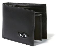 Oakley Men's Leather Bi-fold Money Wallet + Credit Card ID Holder - Black