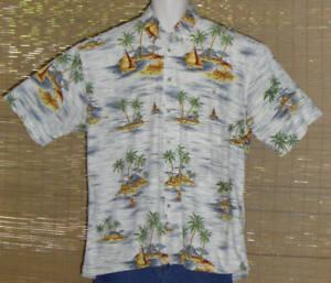 CAMPIA MODA Hawaiian Shirt Large White Blue Yellow Islands Size Large
