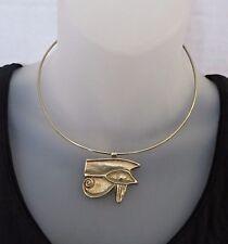 Vtg 1977 MMA King Tut Egyptian Revival Eye of Horus Gold Tone Choker Necklace