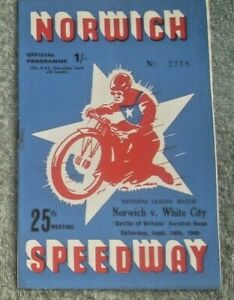 NORWICH SPEEDWAY ,,NORWICH  V  WHITE CITY   SEPT. 10th 1949