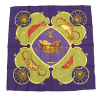 Hermes Carre 90 Springs Silk Scarf Purple /Purple/Purple Green/Silk 100 Total