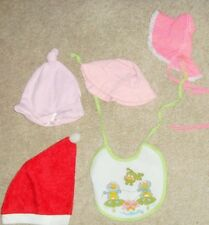Lot of hats and bib vintage baby doll clothing assorted accesorry pieces Santa