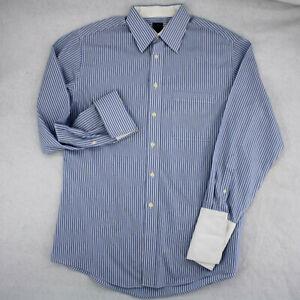 JOSEPH & FEISS French Cufflink Blue Striped Fitted Button Dress Shirt 16 32 33