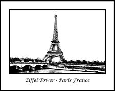 Eiffel Tower Paris France Black & White 11x14 Photograph (CDG171224040911x14)