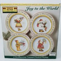 4 Debbie Mumm Sakura Joy To The World Dessert Salad Plates in Original Box