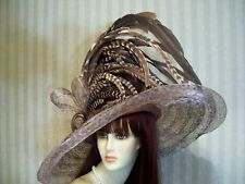 Kentucky Derby Hat, Wedding Hat, Leopard Wide Brim Hat, Tea, Victorian hat