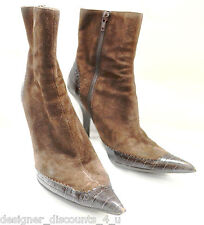 Nine West Top Dollar Brown Suede leather BOOTIES ANKLE Boots Sexy high heels 8 M