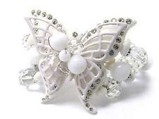Stretch Fashion Bracelet White Butterfly w/Crystal