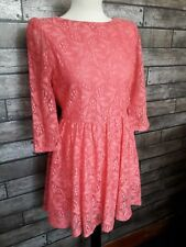Topshop Pink Lace Skater Dress Size 10 Party Occasion Cruise Races BNWT