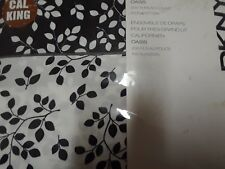 "DKNY""Oasis""Black White Leaf NEW Leaves CA King Sheet Set Flatted Fit Pillowcases"