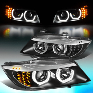 FOR 2006-2008 BMW E90 3-SERIES 3D LED CRYSTAL U-HALO PORJECTOR HEADLIGHT LAMPS