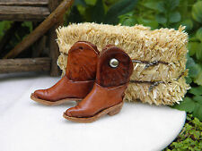 Miniature Dollhouse FAIRY GARDEN Farm Accessories ~ TINY Leather Cowboy Boots